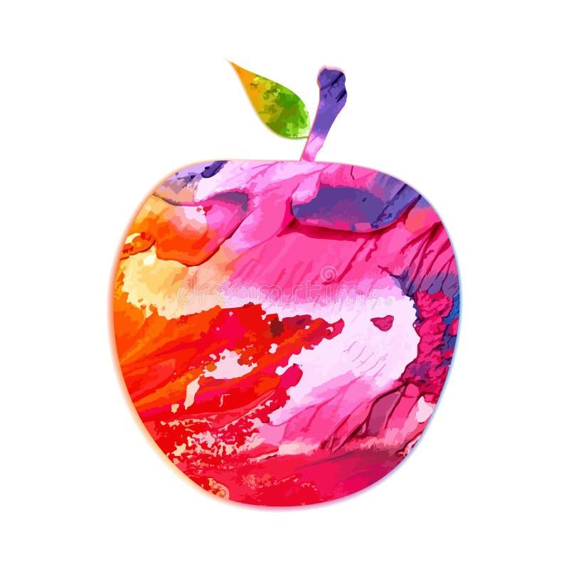 Яблоко акварели красное все при крупный план лист изолированный на белой предпосылке вектор бесплатная иллюстрация
