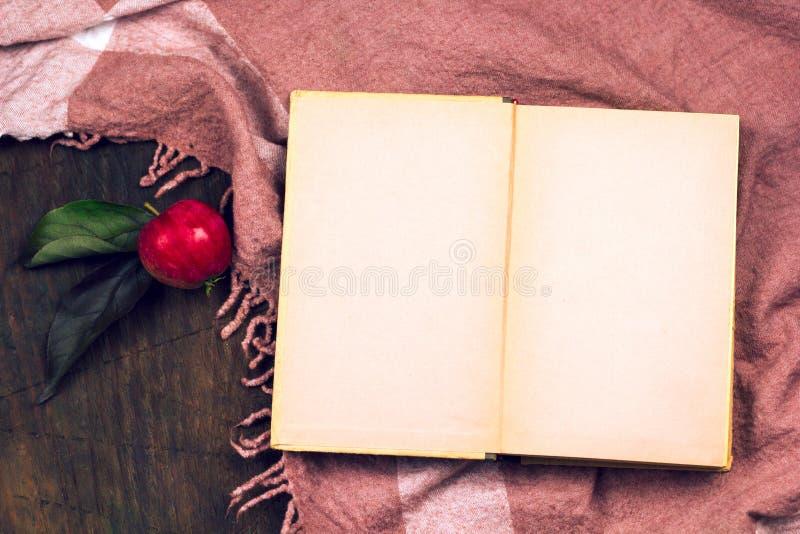 Яблоко взгляд сверху на деревянном столе с скатертью стоковое фото rf