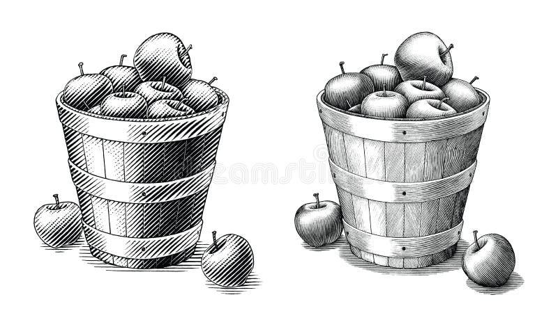 Яблоко в руке корзины рисуя искусство зажима винтажного стиля черно-белое изолированное на белой предпосылке Сравните простой и с иллюстрация штока