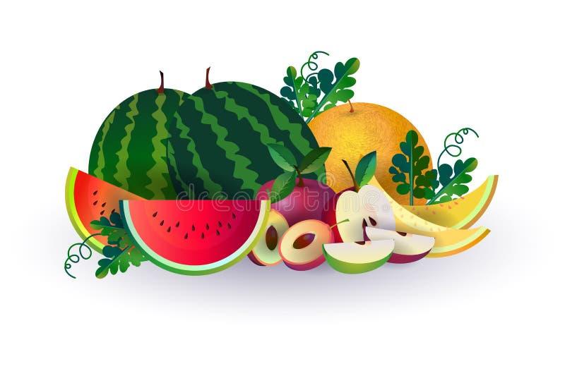 Яблоко дыни арбуза приносить на белой предпосылке, здоровом образе жизни или концепции диеты, логотипе для свежих фруктов иллюстрация штока