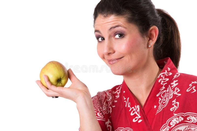 яблоко ест здоровую жизнь стоковые изображения rf