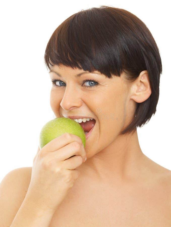 яблоко - зеленая женщина стоковая фотография rf