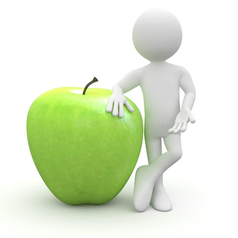 яблоко - зеленый огромный полагаясь человек бесплатная иллюстрация