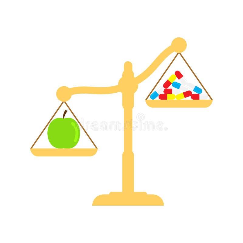 Яблоко и таблетки в масштабах Концепция еды Eco Иллюстрация вектора здорового образа жизни плоская иллюстрация штока