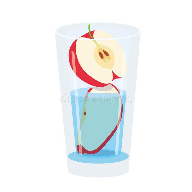 Яблоко красное в стекле изолированном на белой предпосылке иллюстрация вектора