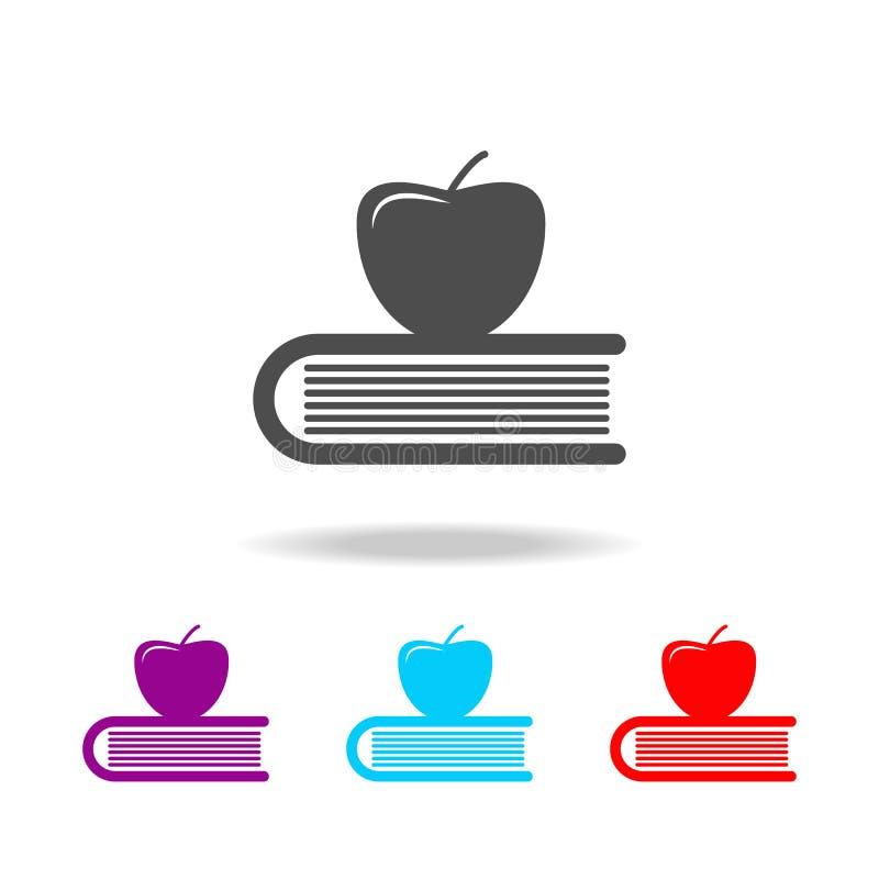 Яблоко на книге, значке знания Элементы образования в multi покрашенных значках Наградной качественный значок графического дизайн иллюстрация вектора