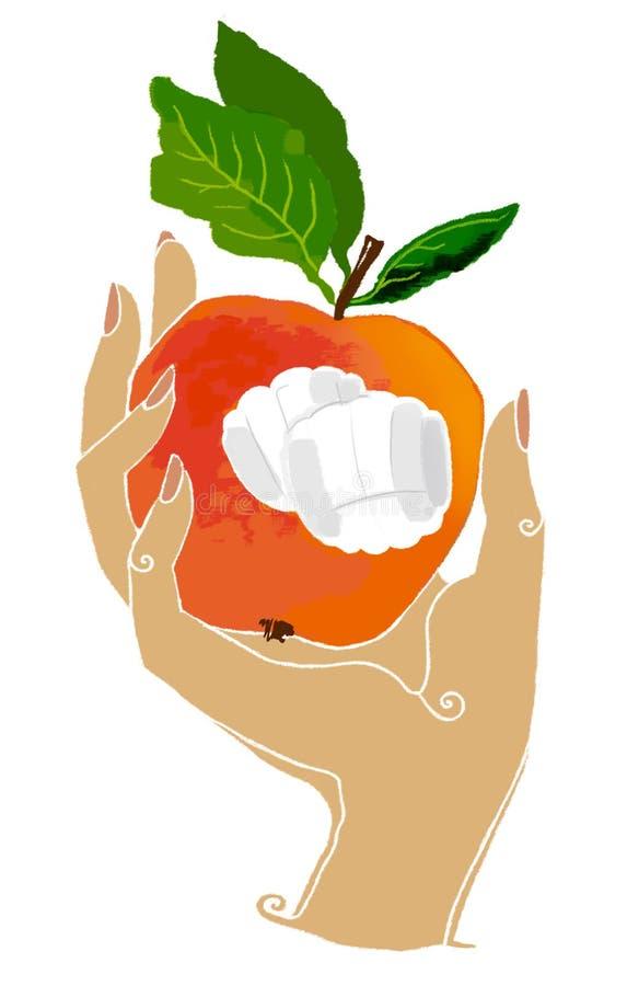 Яблоко, рука держит яблоко бесплатная иллюстрация