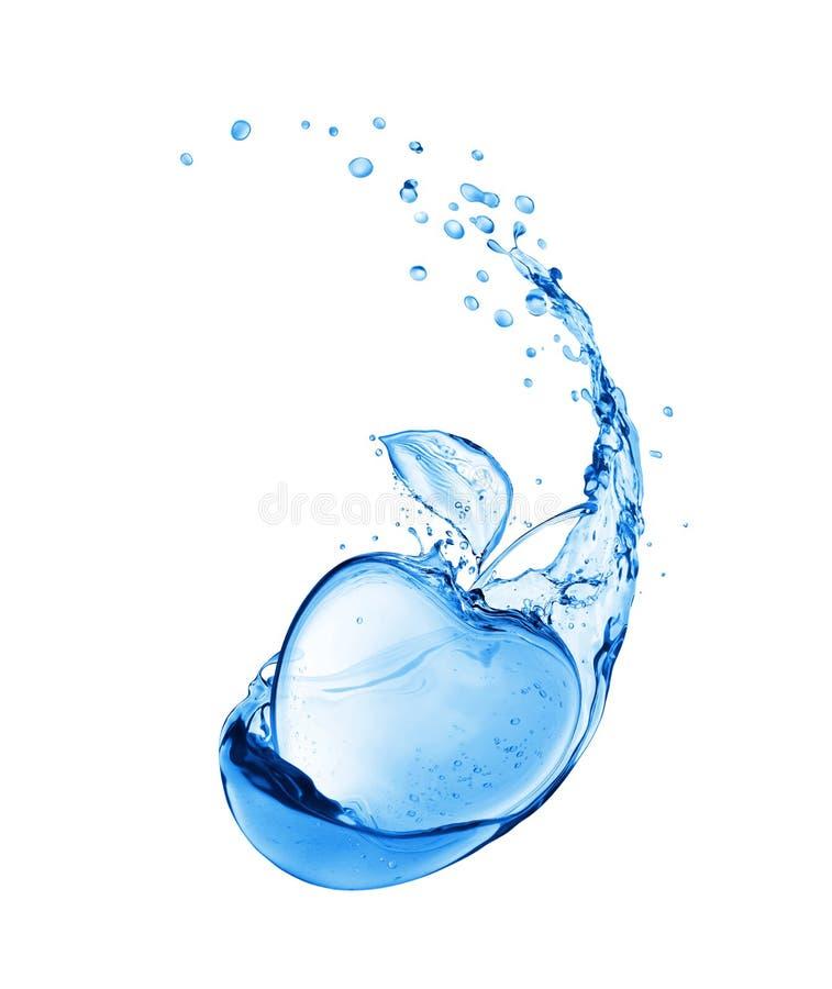 Яблоко сделало из воды брызгает Схематическое изображение изолированное на белой предпосылке бесплатная иллюстрация