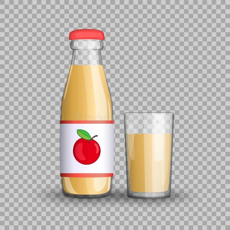 Яблочный сок в прозрачной стеклянной бутылке изолированной в стеклянной чашке на прозрачной предпосылке также вектор иллюстрации  бесплатная иллюстрация