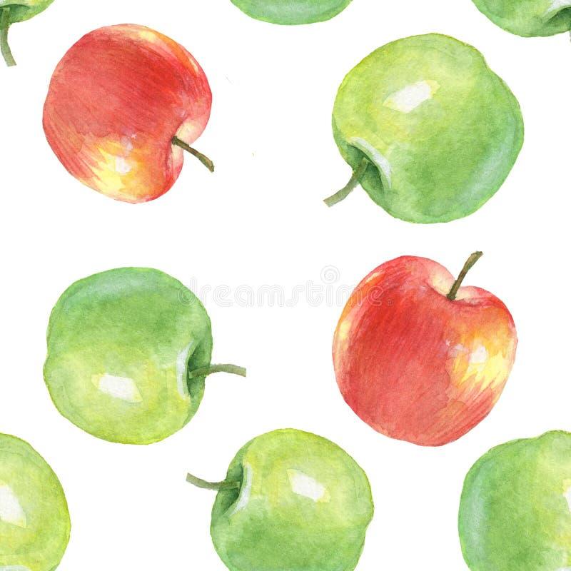 Яблоки акварели, безшовная картина иллюстрация вектора