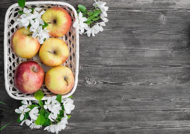 Яблоки в корзине Wicker стоковая фотография rf