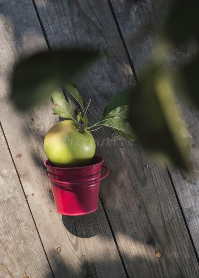Яблоко на деревянном поле стоковое фото