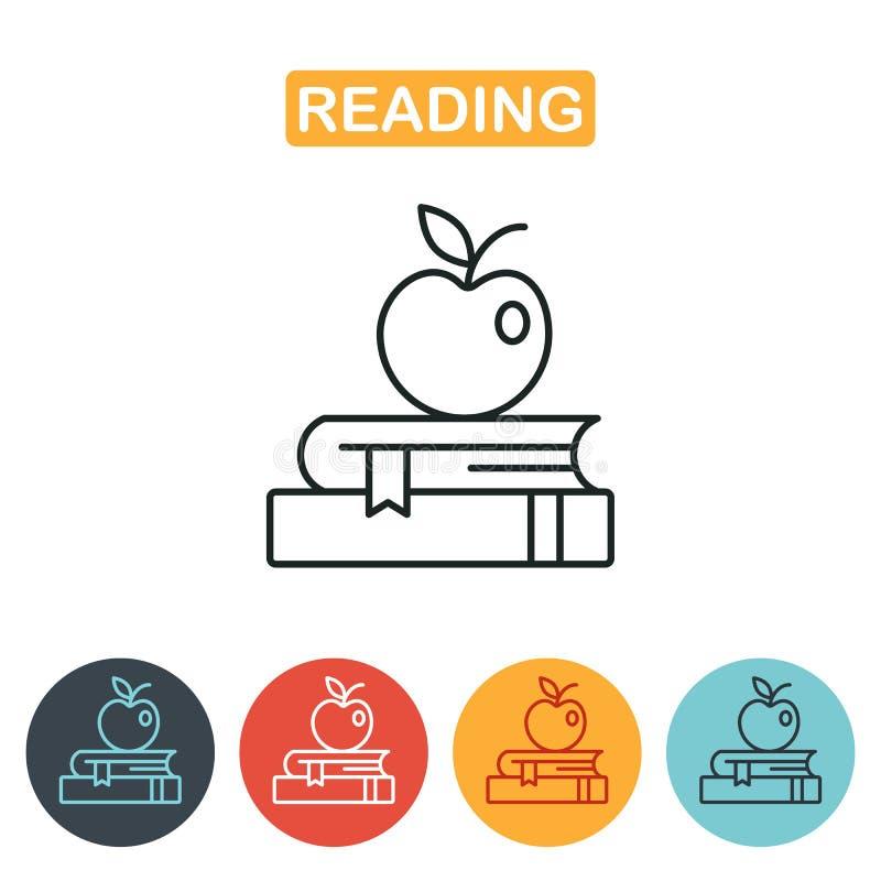 Яблоко на книгах, значок знания иллюстрация штока