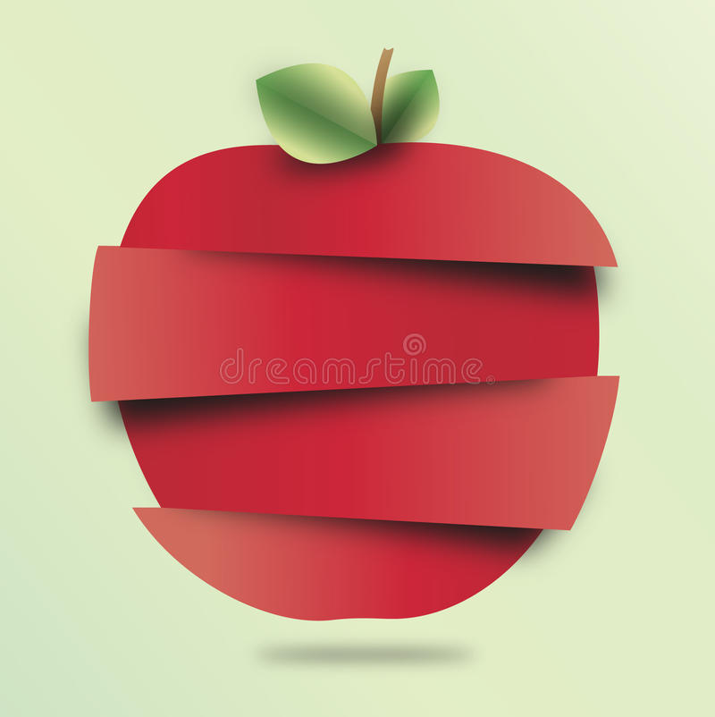 Яблоко отрезало бумагу стоковое изображение
