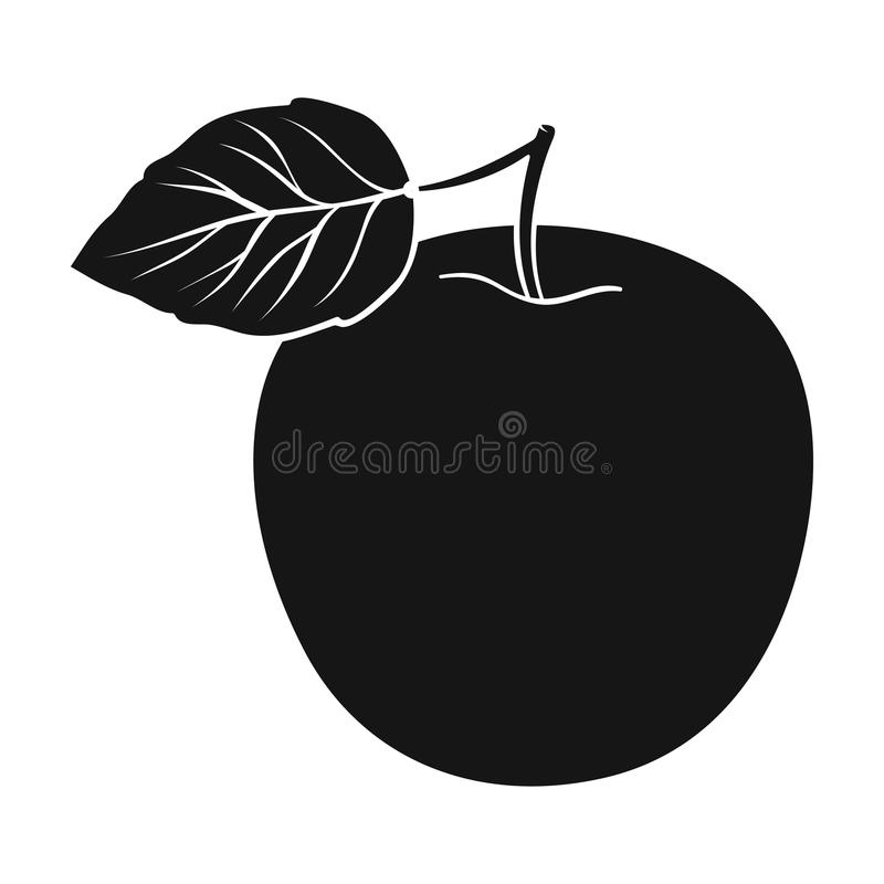 яблоко - позеленейте листья Правильная диета для диабета Диабет определяет значок в черной иллюстрации запаса символа вектора сти бесплатная иллюстрация