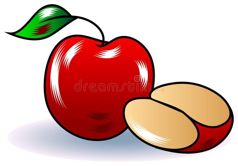 Яблоко с ломтиком бесплатная иллюстрация