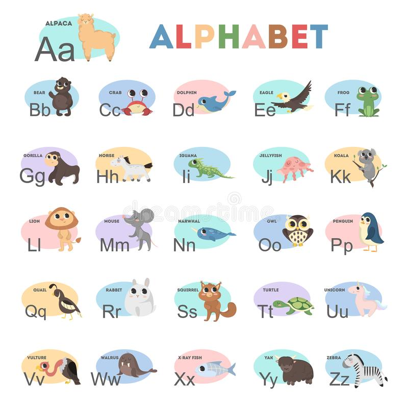 Ягнит алфавит животных иллюстрация вектора