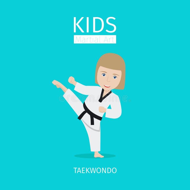 Ягнит боевые искусства, девушка Тхэквондо иллюстрация штока