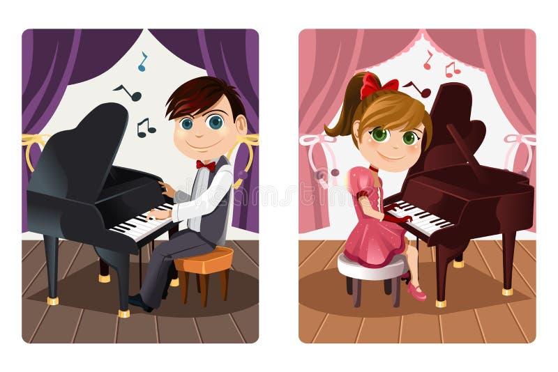 ягнит играть рояля иллюстрация вектора