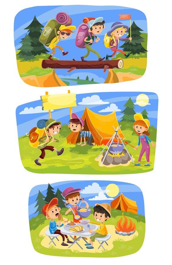 Ягнит иллюстрация концепции вектора лета располагаясь лагерем бесплатная иллюстрация