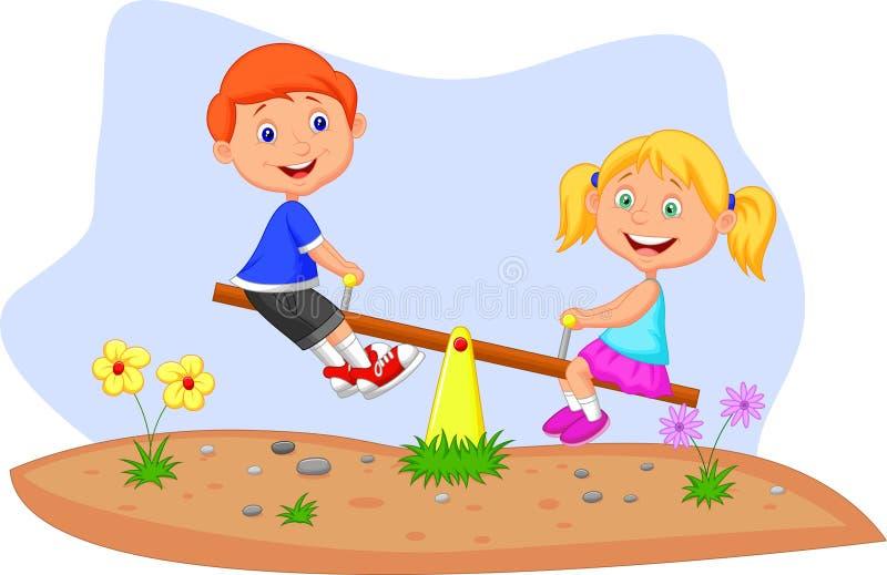 Ягнит катание шаржа на seesaw бесплатная иллюстрация
