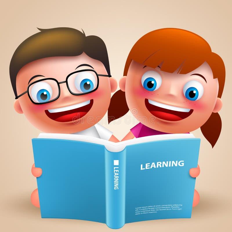 Ягнит характеры вектора книги чтения с счастливой улыбкой для школы иллюстрация вектора
