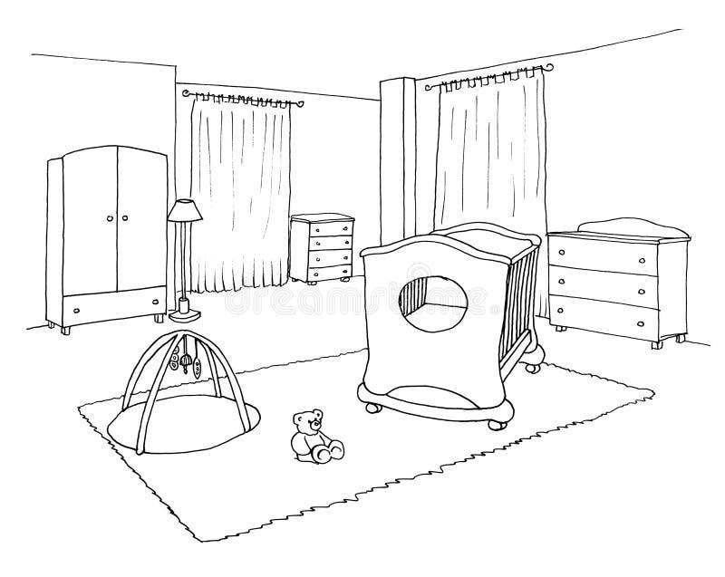 Ягнит эскиз комнаты графический иллюстрация вектора