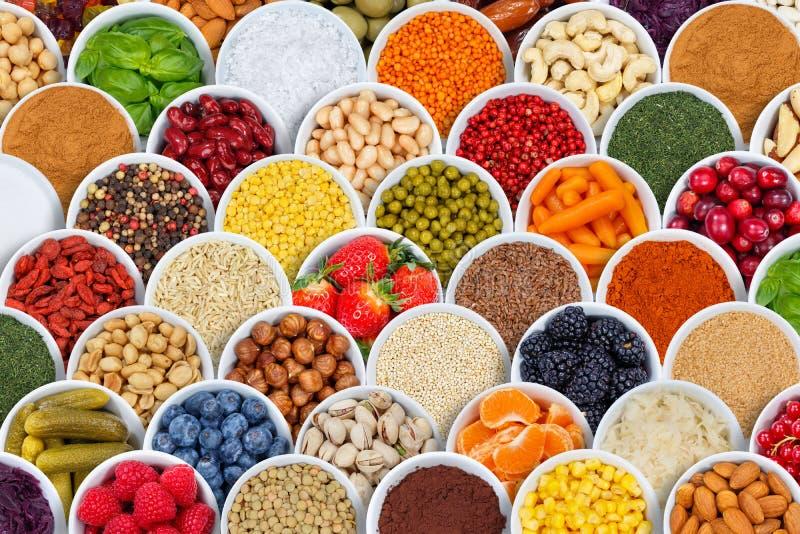 Ягоды предпосылки ингридиентов специй фруктов и овощей от стоковое фото