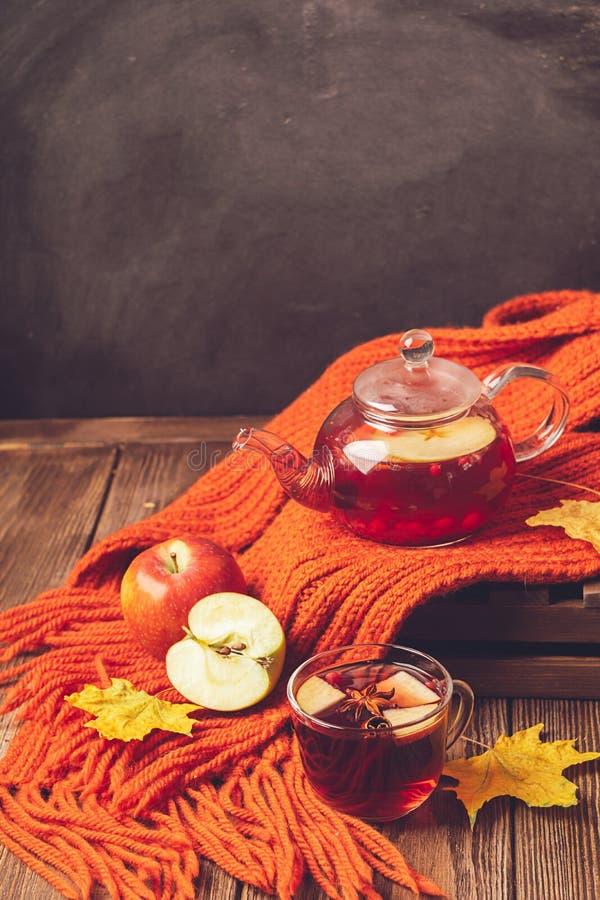 Ягоды яблока осени напитка красные в стеклянном чайнике и оранжевом шарфе на деревянной предпосылке Горячий чай ягоды плода стоковое фото rf