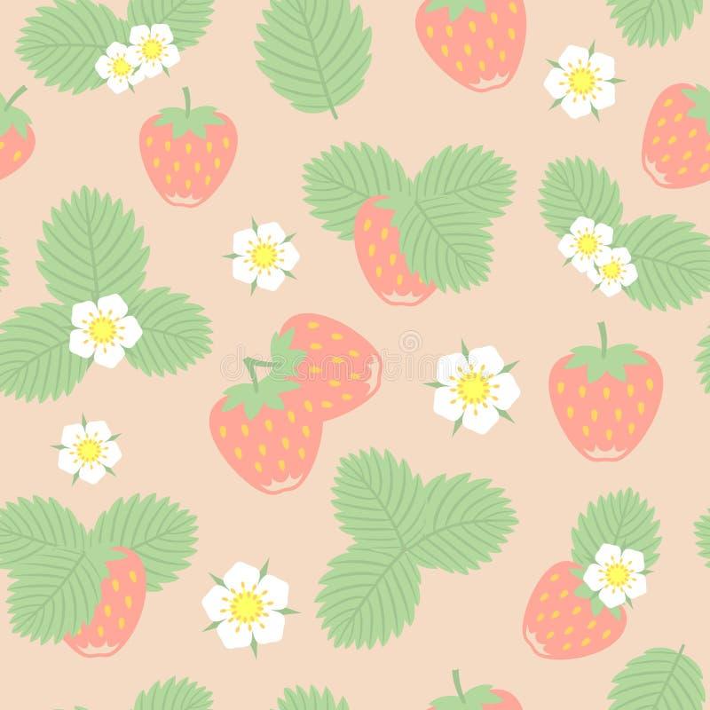 Ягоды, листья и цветки клубники vector безшовная картина бесплатная иллюстрация
