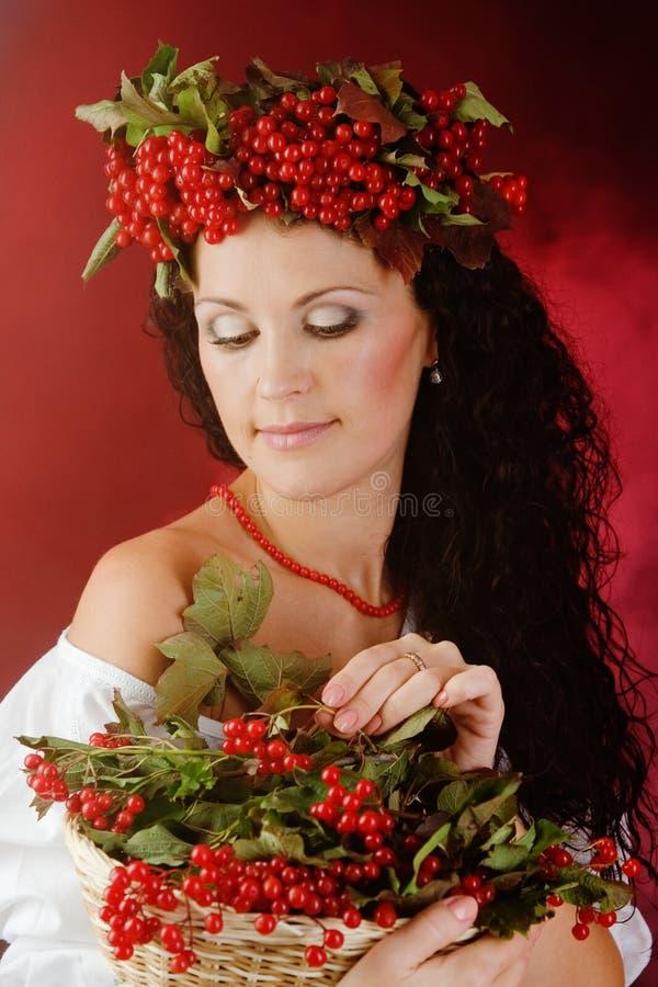Ягоды калины женщины осени стоковая фотография