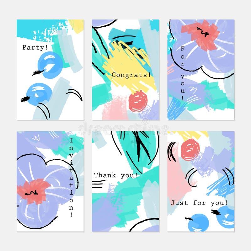 Ягоды нарисованные конспектом голубые и фиолетовый цветок иллюстрация вектора