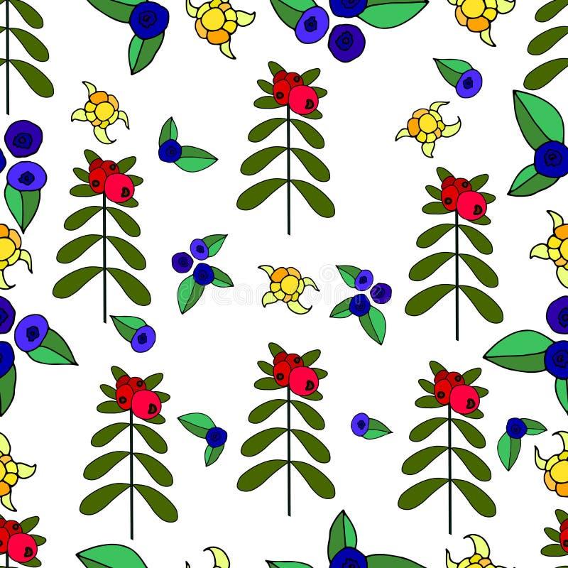 Ягоды, lingonberry, голубика, seamles леса морошки сочные бесплатная иллюстрация