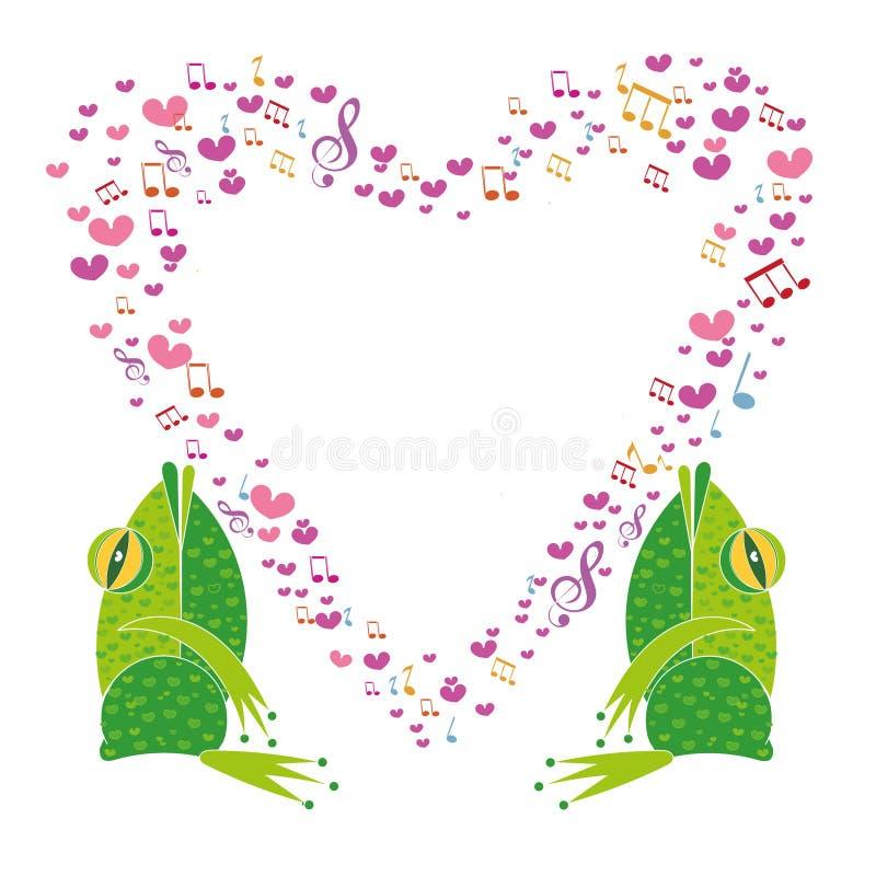 2 лягушки петь с сердцем рамки иллюстрация штока