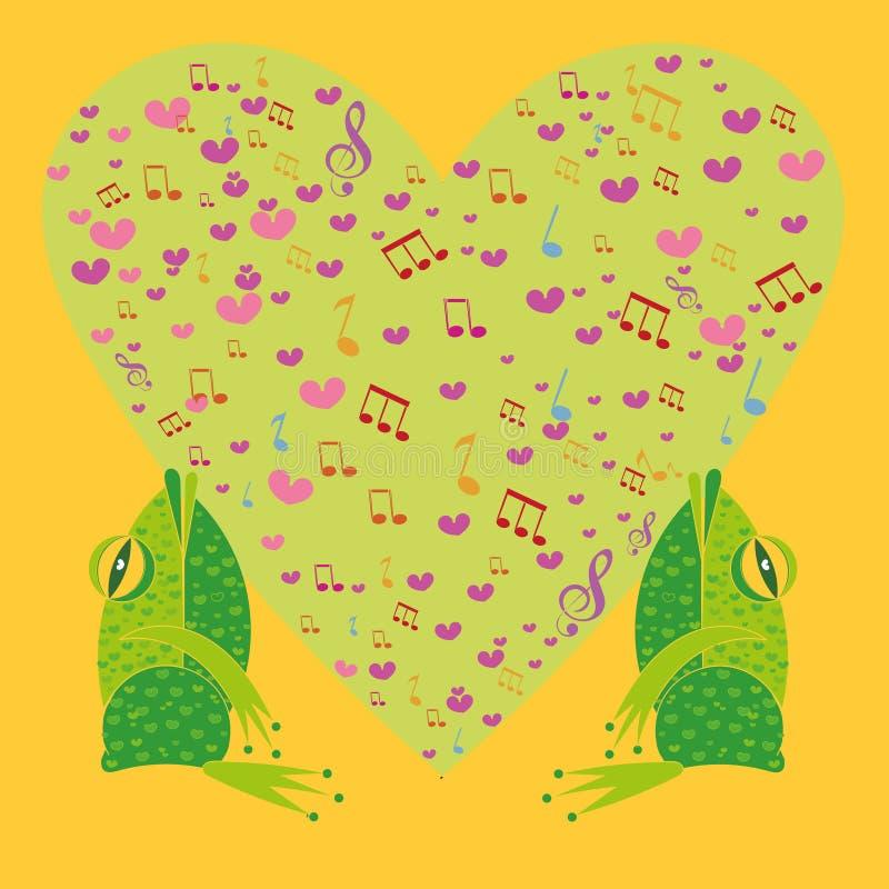 2 лягушки поя на заднем плане сердце иллюстрация вектора