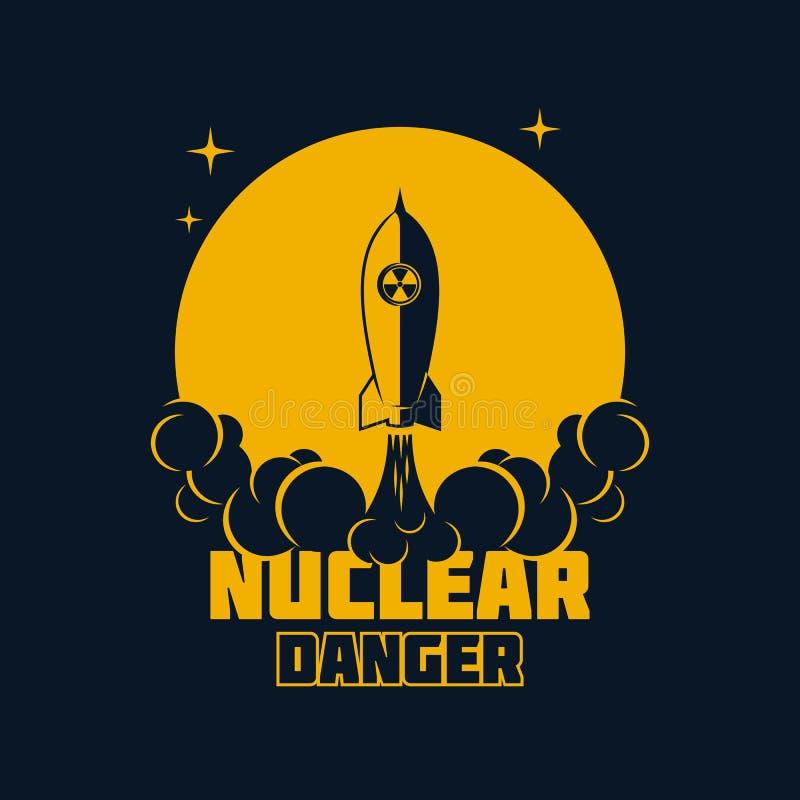 Ядерная опасность - предупреждая знамя также вектор иллюстрации притяжки corel бесплатная иллюстрация