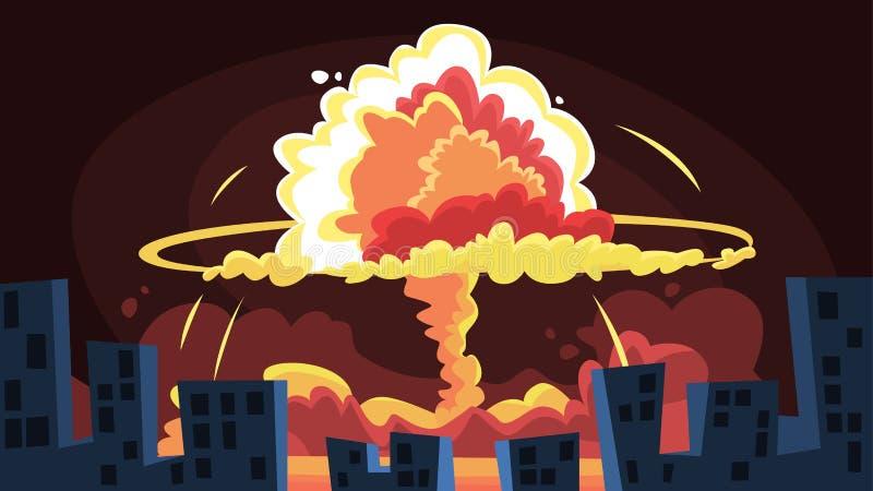 Ядерный взрыв Большой ядерный гриб в городе иллюстрация вектора