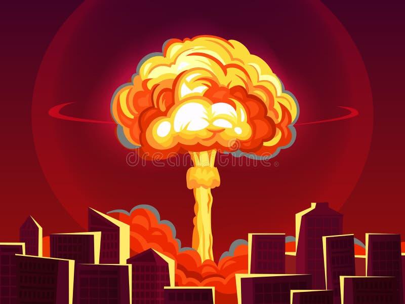 Ядерный взрыв в городе Атомная бомбардировка, ядерный гриб взрыва бомбы пламенистые и вектор мультфильма разрушения войны иллюстрация вектора