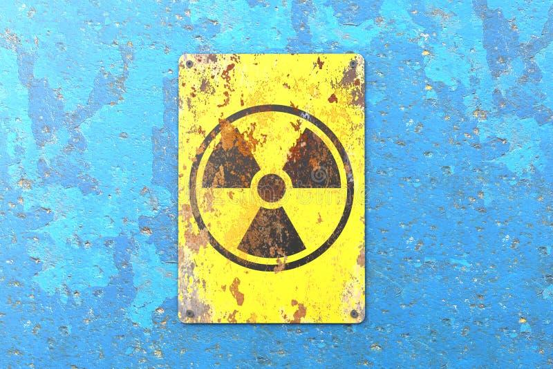 Ядерный объект, знак вися на голубой стене Индикация присутсвия радиоактивной области иллюстрация вектора
