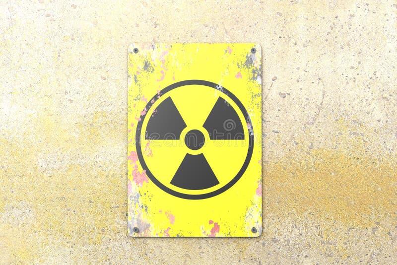 Ядерный объект, знак вися на желтой стене Индикация присутсвия радиоактивной области бесплатная иллюстрация