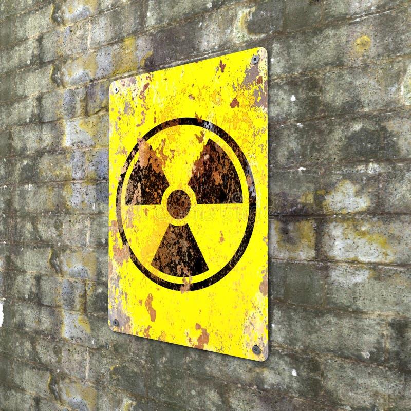 Ядерный объект, знак вися на кирпичной стене Индикация присутсвия радиоактивной области иллюстрация вектора