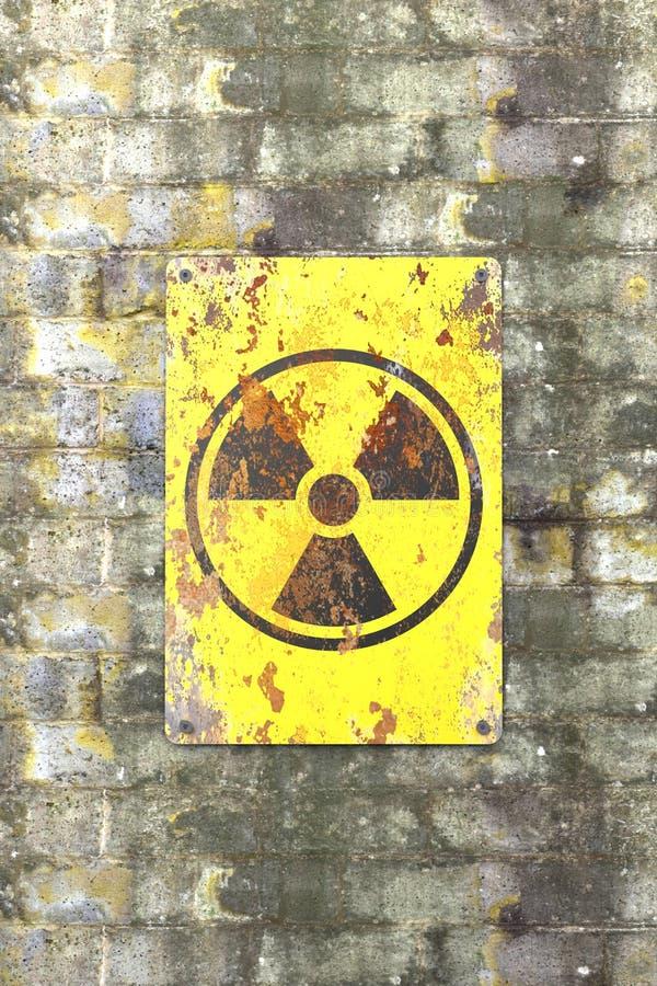 Ядерный объект, знак вися на кирпичной стене Индикация присутсвия радиоактивной области бесплатная иллюстрация