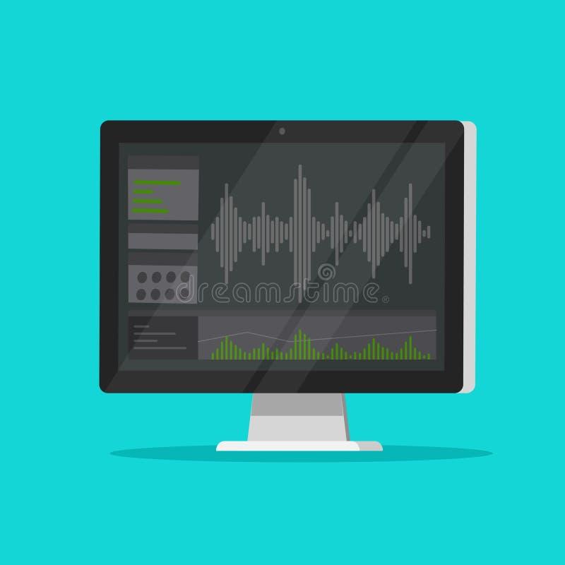 Ядровое или аудио программное обеспечение рекордера или редактора на экране компьютера, плоском мониторе мультфильма с аудио знач бесплатная иллюстрация