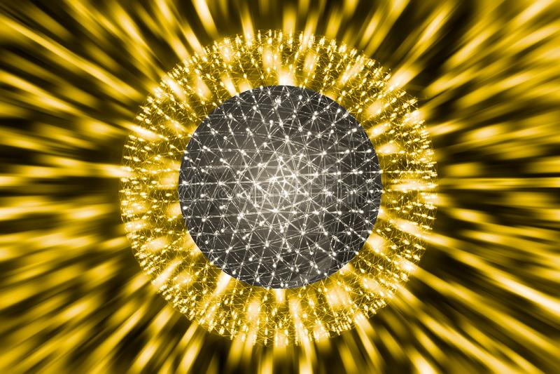 Ядро шарика атома или ядерные взрывают науку света радиации Рэй стоковое изображение rf