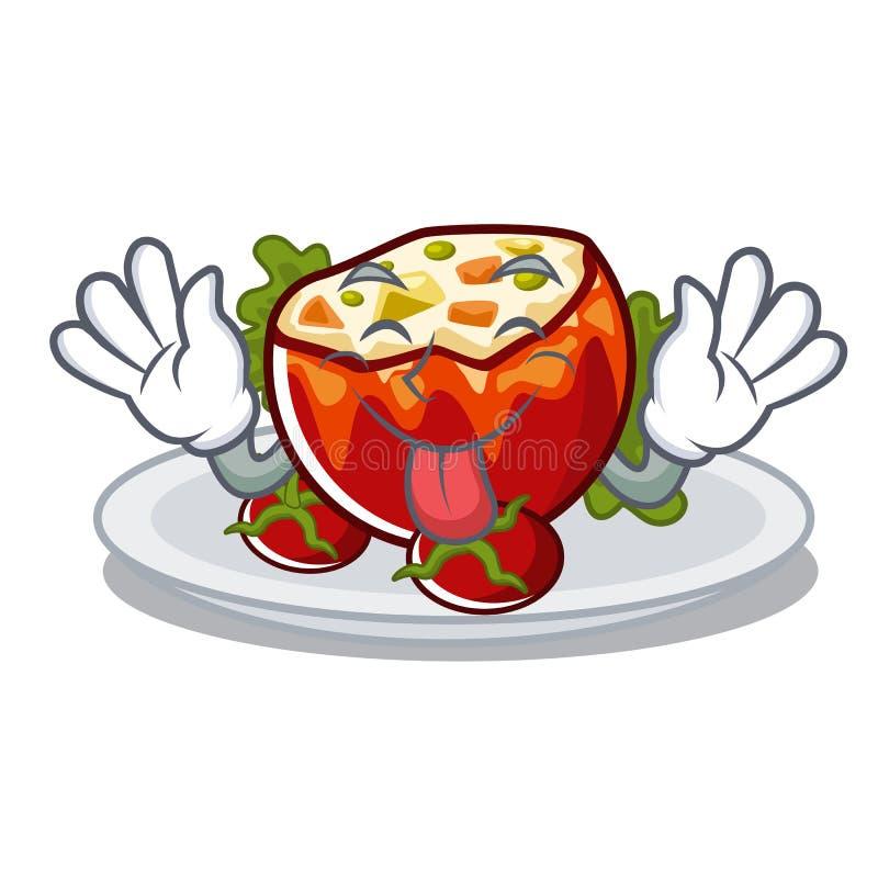 Язык вне заполнил томаты в форме мультфильма иллюстрация штока