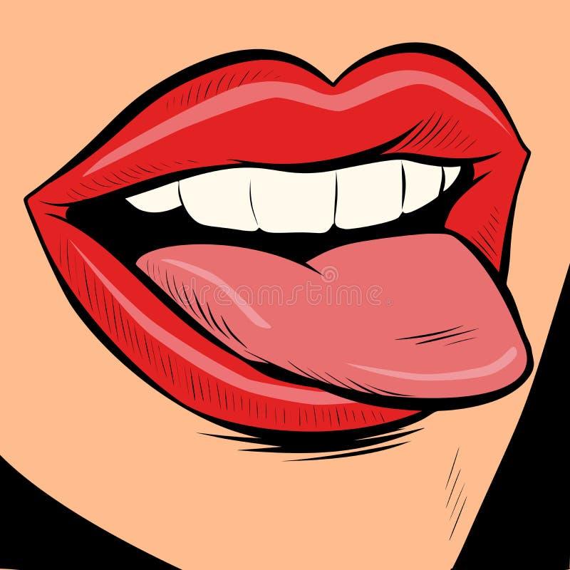 Язык женщины сексуальный иллюстрация вектора