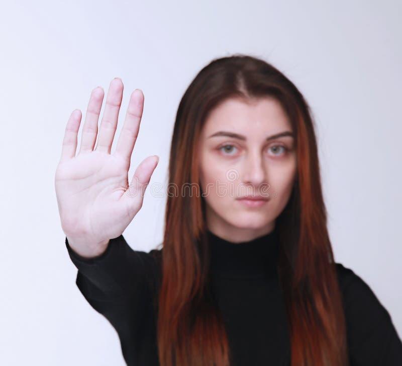 Язык жестов жеста знака руки стопа показа девушки, жесты, ps стоковая фотография rf