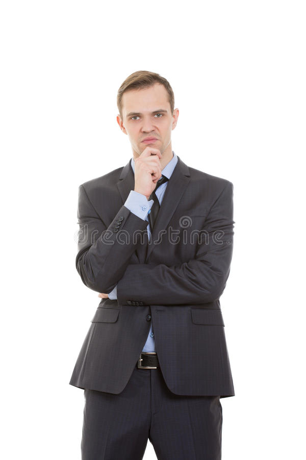 Язык жестов человек в деловом костюме изолированном дальше стоковое изображение rf