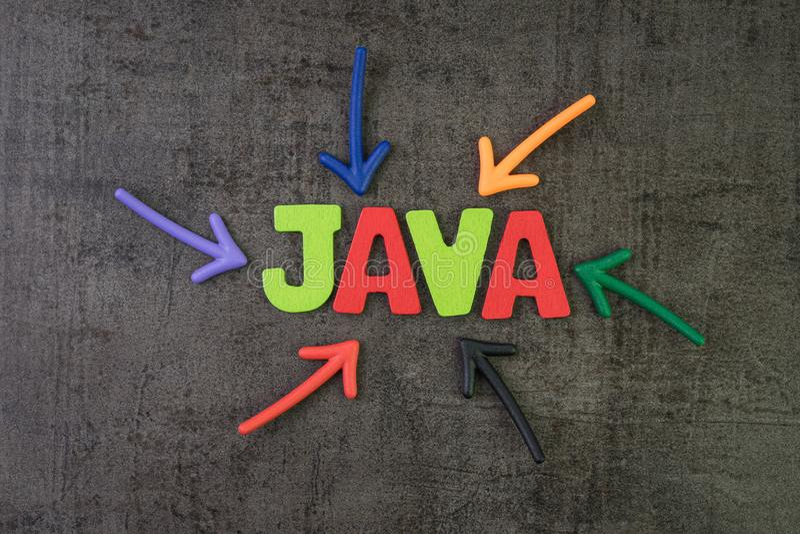 Язык программирования ЯВА современный для концепции разработки программного обеспечения или применения, multi стрелок цвета указы стоковое фото rf