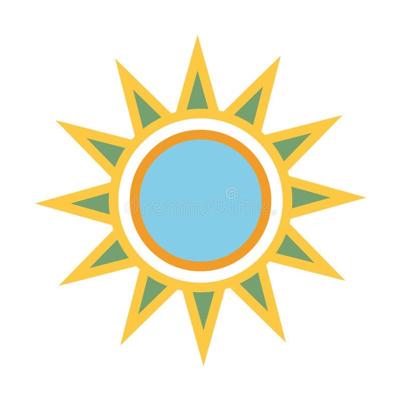 Языческий цвет Солнце с лучами Вектор eps10 значка солнца лета желтый знак солнца с голубой внутренностью круга бесплатная иллюстрация